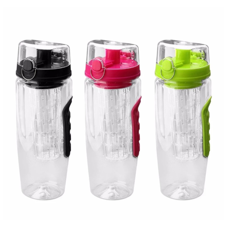 Flip Top Lid Dual Anti-Slip Grips Best Quality 100% Food Grade Material Fresh Fusions 32 Oz Fruit Infuser Water Bottle