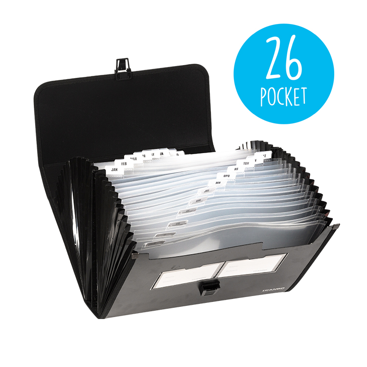 A4 Plastic 26 Pocket Expanding File Folder with Handle,  Letter Size Poly Accordion File Organizer with 24 Pockets