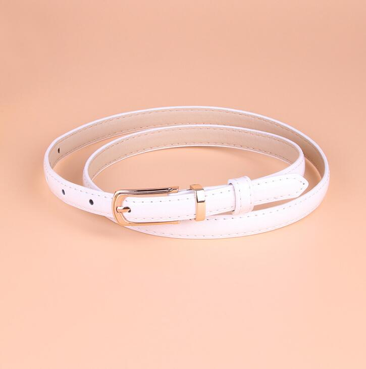 women pu candy color dress thin pin buckle belt