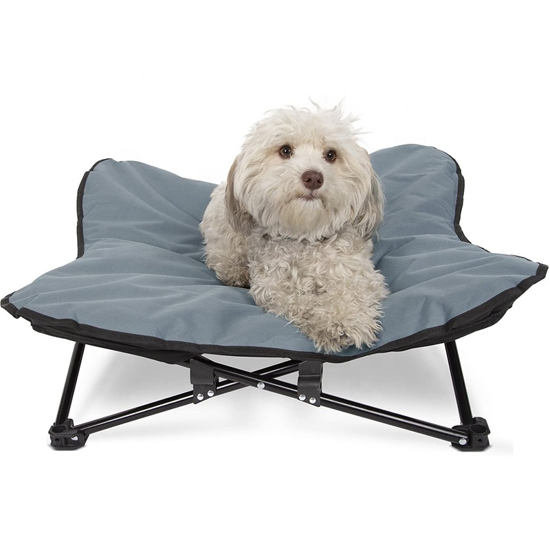 Indoor Outdoor Pet Elevated Dog Bed Camping Raised Cot for Small or Medium Dogs & Cat with Folding Metal Frame