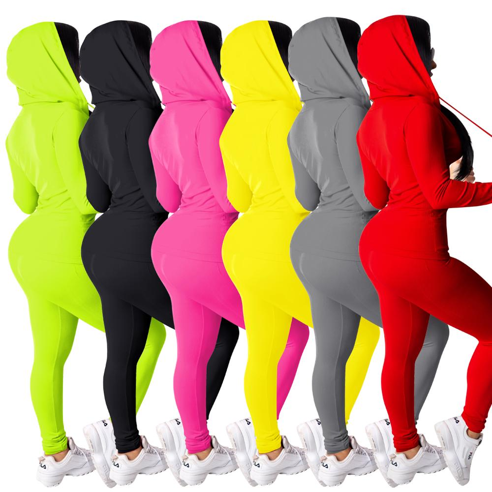2 ชิ้นชุดผู้หญิงBodycon Solid Hoodieเสื้อแขนยาวและLegging Sweatsuit