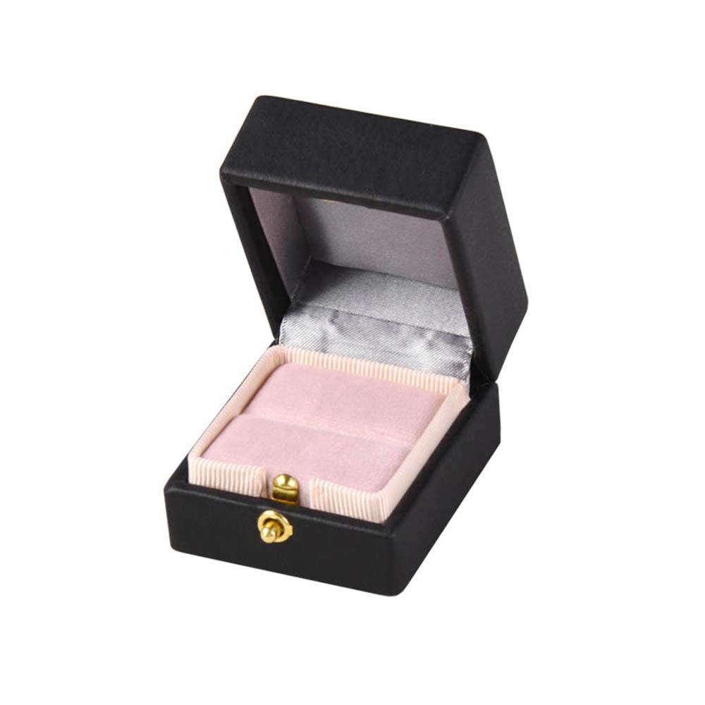 custom quality luxury black  wedding engagement gift faux pu leather ring box