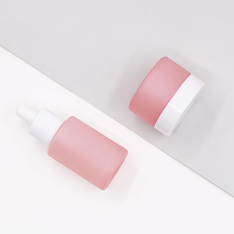 30g मैट गुलाबी सफेद टोपी के साथ अनुकूलित कॉस्मेटिक क्रीम ग्लास जार
