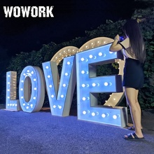 customized outside advertising 3d free standing wedding decoration led illuminated love letter