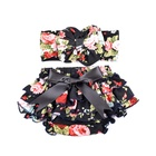 Fashionable Black Floral Tutu Skirt Trousers Large Bow HeadBand 2pcs/set Hair Accessories for Kids