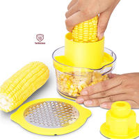 Corn Stripper Potato Peeler and Fruit Vegetable Chocolate Grater with Measuring Bowl Space Saving Design