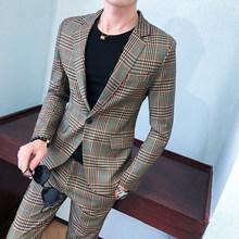 Мужской костюм для свадьбы, классический облегающий деловой костюм со штанами в клеточку, деловой костюм, 2020(Китай)