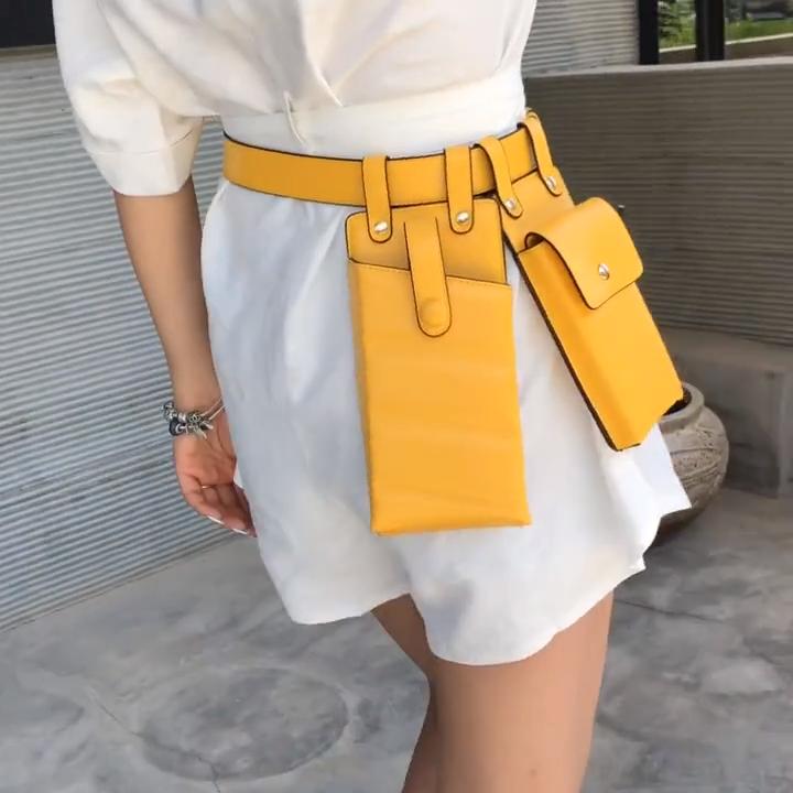 Şık Fanny paketi kadın PU deri bel kemeri çanta kızlar Crossbody çanta bel paketi lüks çanta moda tasarımcısı göğüs çantası