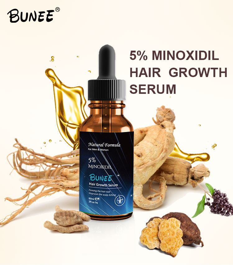 60Ml OEMสมุนไพรขิงMinoxidil Liquid 5% Hair Growth Serum