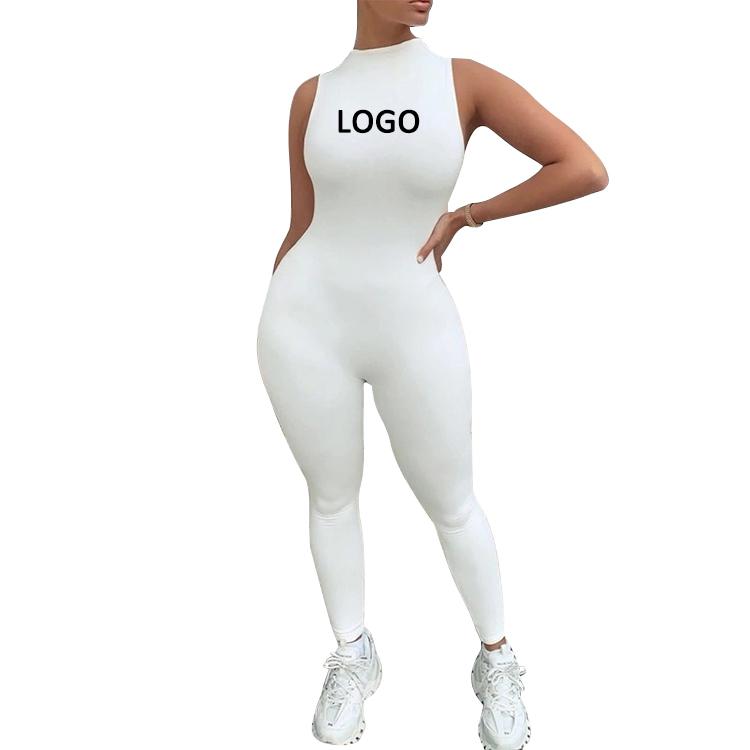 بدلة نسائية OEM بدلة رياضية بعلامة تجارية مخصصة للبائعين بدلة بدون أكمام منسوجة قطعة واحدة بدلة نسائية