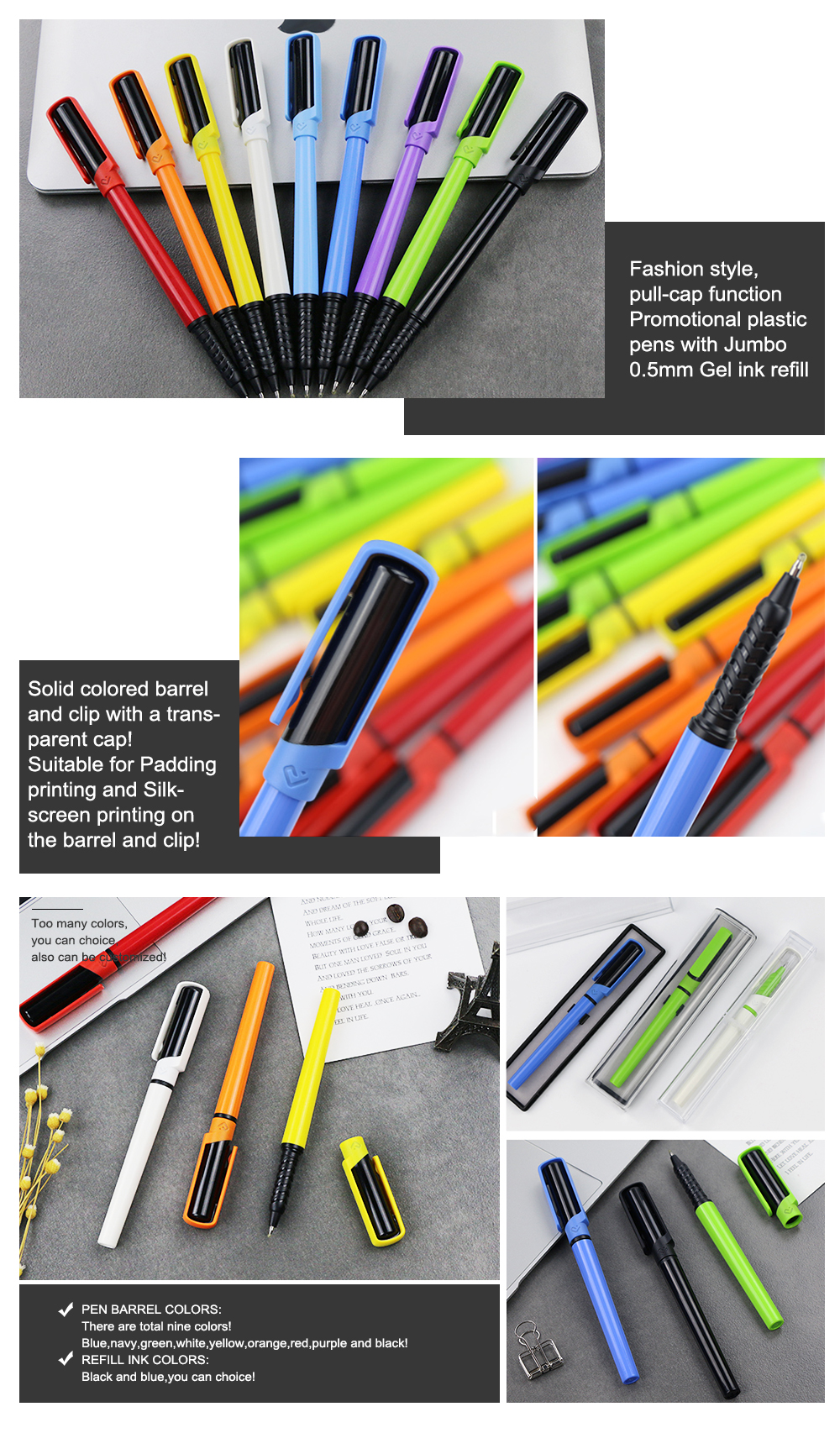 Top Quality  Plastic Tube Ball Pen Mini Gel Ink Refill Pen