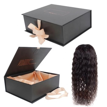 Luxury custom paper magnetic folding hair extension boxes with ribbon,wig packaging box high quantity package