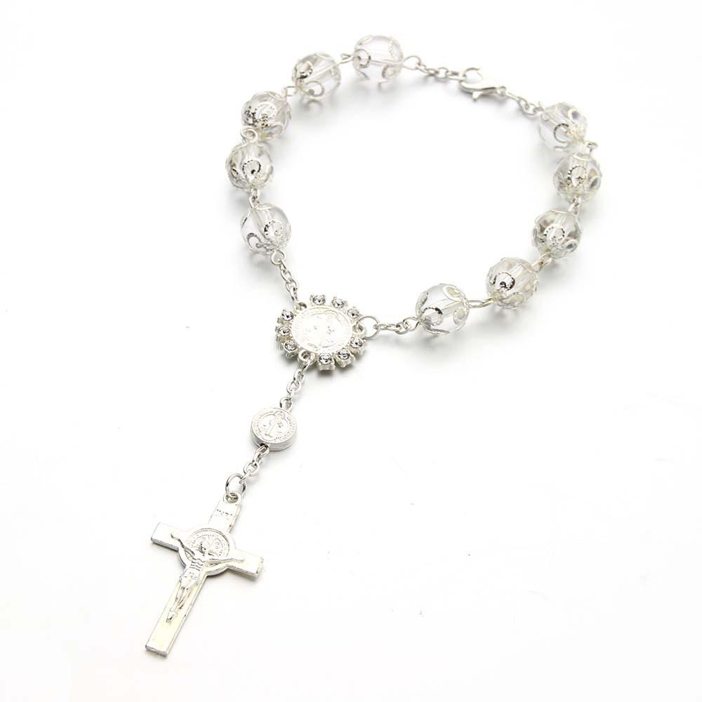 LOTTO di 10 Rosario Preghiera Madonna silver plate Centro /& Crocifisso Croce ITALIA