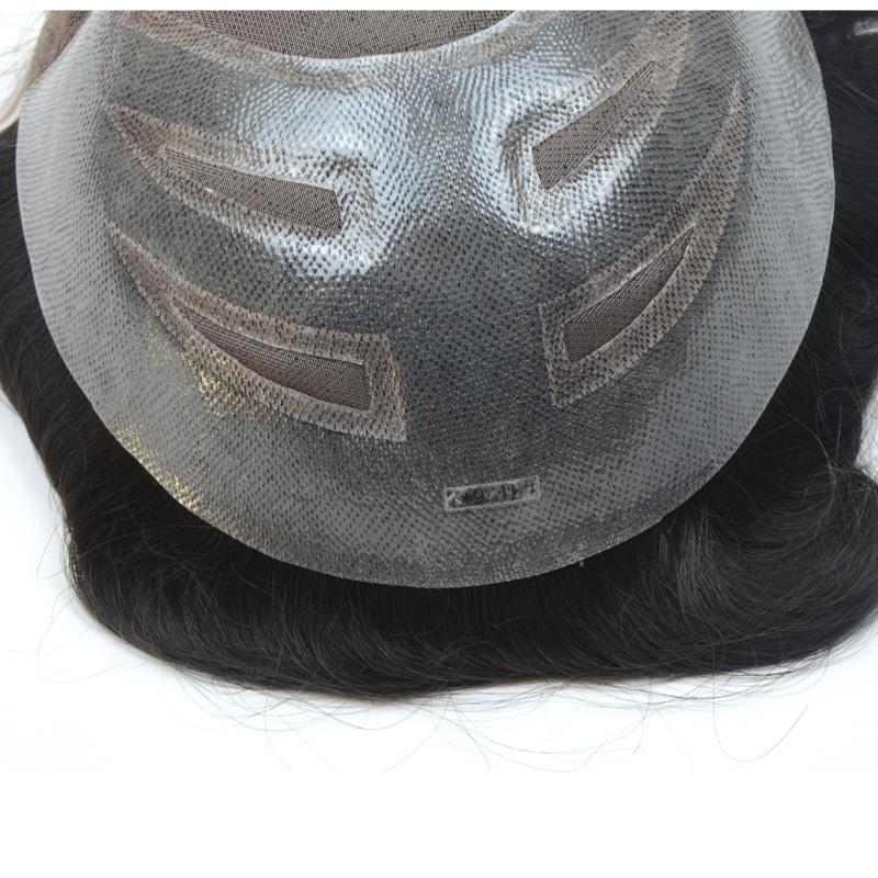 "European virgin human hair toupee for men with transparent Thin skin PU,8""x10"" Straight hair pieces for men #1b Off black"