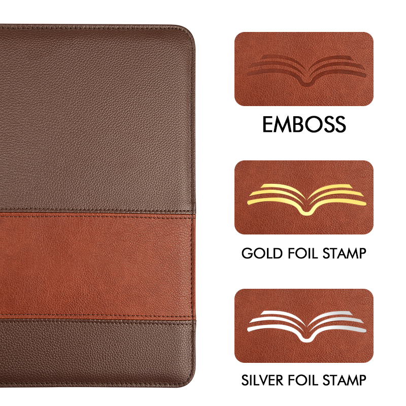 2020 New design bible leather cover custom embossed leather zipper bag bible book cover