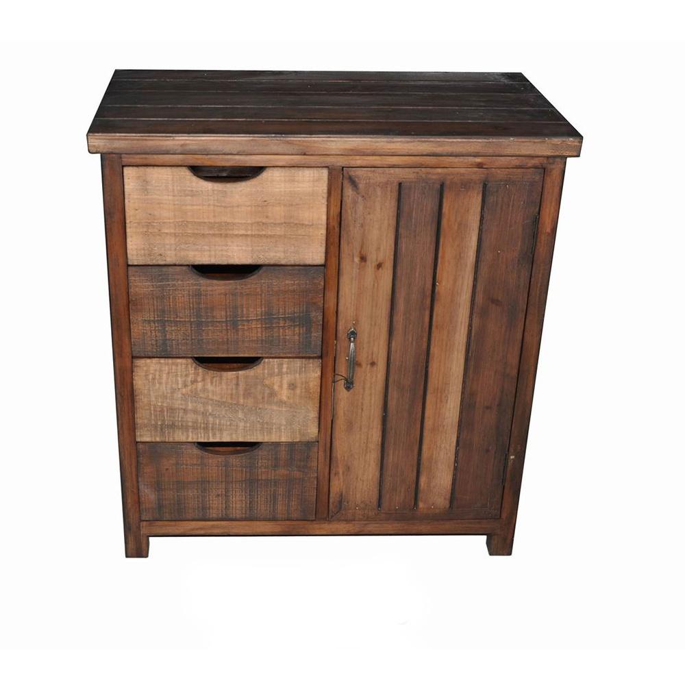 Mayco ручной работы ель из цельного дерева маленький четыре ящика однодверный шкаф