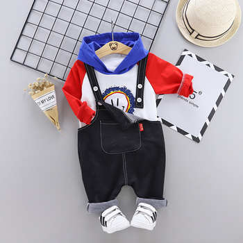 2019 new cartoon hoodie denim bib pant two pieces 18 month baby clothing set australia cheap toddler girl clothes online