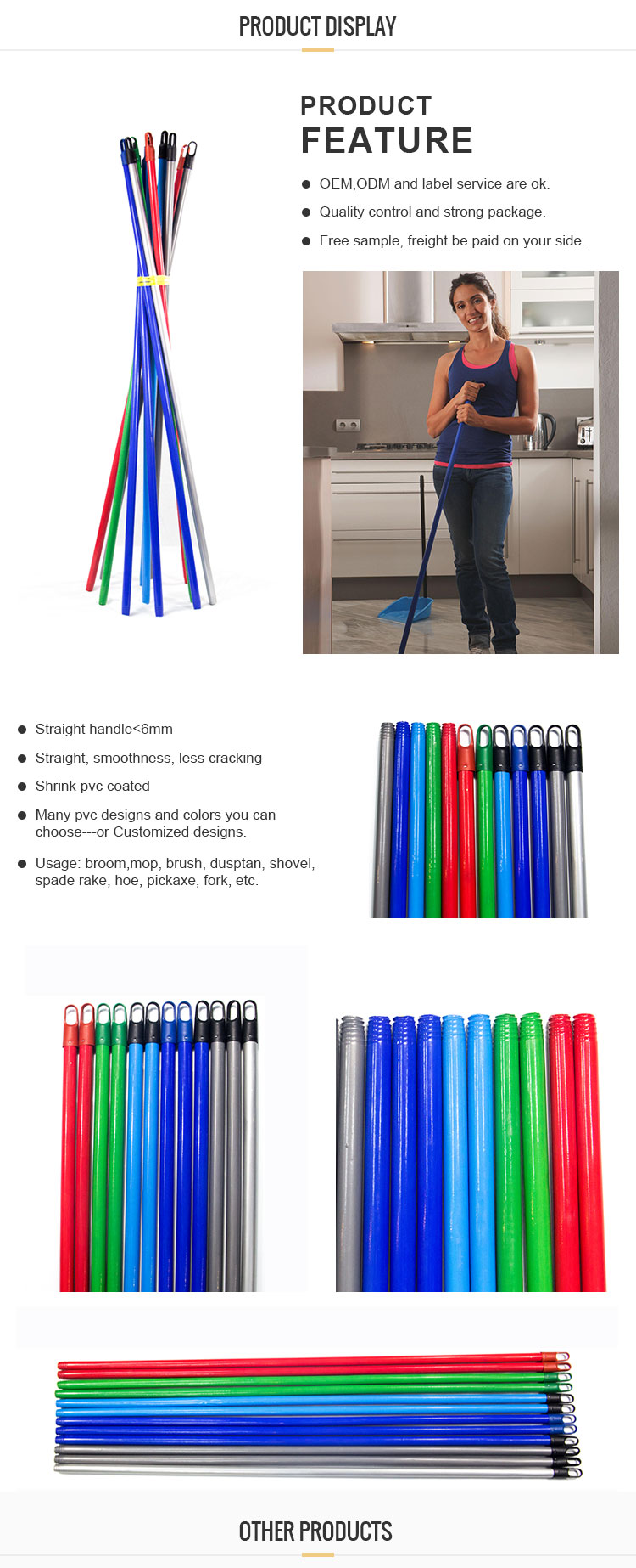 GLY Several Colors PVC Coated Sharpened Wood Broom Stick