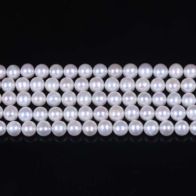 8-9mm AA Grade white egg shape loose pearl strand