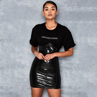 High Waist PU Leather Skirt Women Black Bodycon Dress Casual Short Mini Pencil Skirts