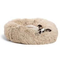 Best Friends Pet Improved Sleep Faux Fur Donut Cuddler Washable Round Luxury Long Plush Sofa Small Dog Cat Pet Bed
