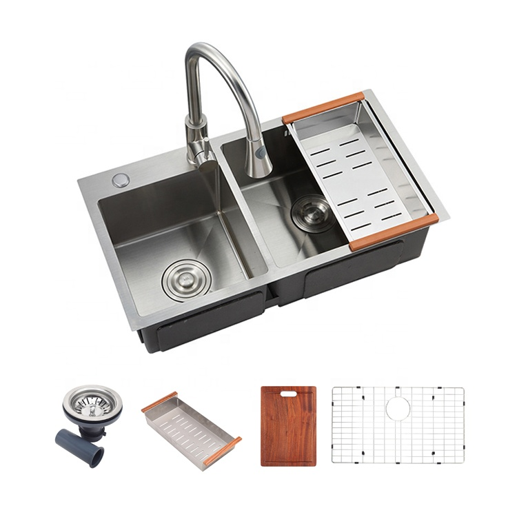 Zhongshan manufacturer single bowl square cheap kitchen sinks 304 stainless steel