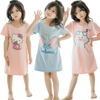 Hot sale wholesale 100% pure cotton pajamas short sleeve children sleepwear kids dresses for girls loose sleeping dress