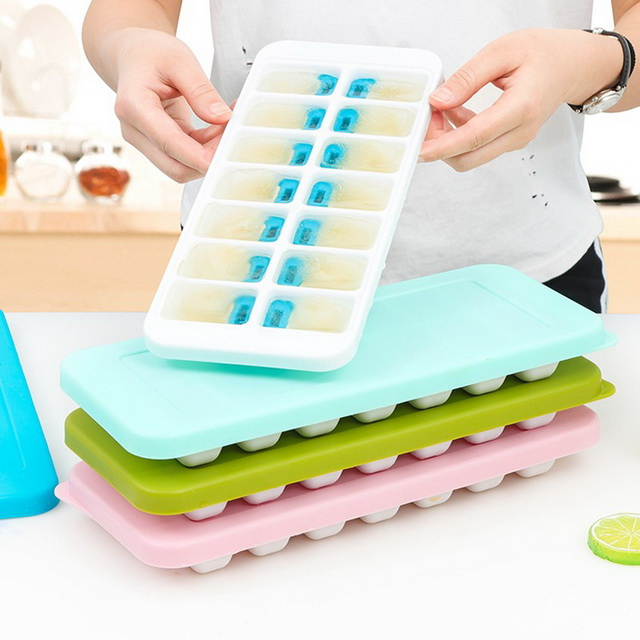 Easy Release Silicone 14-Ice cube Trays Silicone Ice Cube Mould with Spill-Resistant Removable Lid