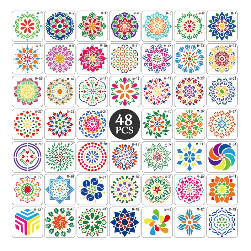 48 Pieces Detura Flower Style Painting Models Drawing Template And Drawing Stencil Plastic Of 13 13cm
