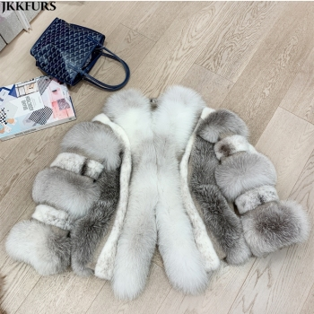 New Coming Fur Coat Real Mink and Fox Fur Overcoat Women Luxury Jacket Winter Outwear