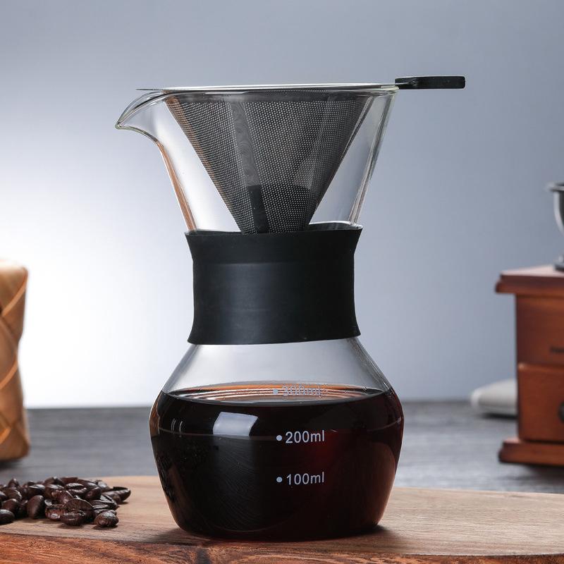 300 мл/600 мл утолщенный стеклянный кофейник кофеварка с ручкой эспрессо капельная вода Кофеварка многоразовый фильтр для кофе, инструменты д...(Китай)