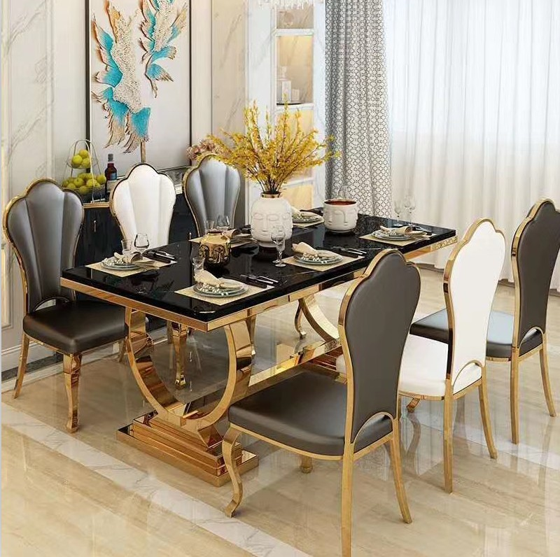 modern luxury marble top <strong>dining</strong> room home furniture stainless steel <strong>table</strong> and luxury chairs <strong>dining</strong> <strong>table</strong> set