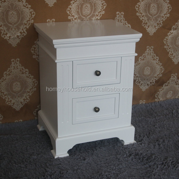 White Bedroom Bedside Table Unit Cabinet Nightstand with 2 Drawers