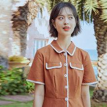 Рубашка-Платье с отложным воротником и коротким рукавом из хлопка и льна, inman, лето 2020(Китай)