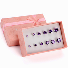 Indien CZ Stud Ohrringe Set Runde Kristall Neueste Grobe <span class=keywords><strong>Amethyst</strong></span> Frauen Edelstahl <span class=keywords><strong>Schmuck</strong></span>