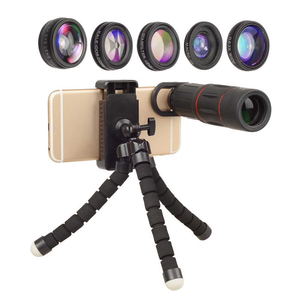 Hottest OEM Camera Lens 18X Telescope Teleobiettivo Fisheye 5 in 1 Lens Kit con Treppiede Stabile