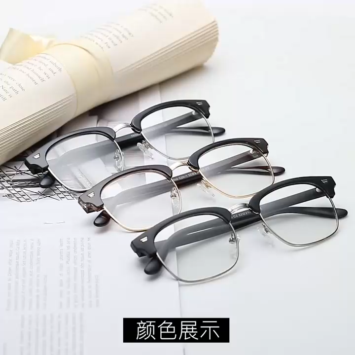 2020 New Eyewear High Quality TR90 Frame Propanoic Acid Temples Square Photochromic Blue Light Blocking Glasses Eyeglasses