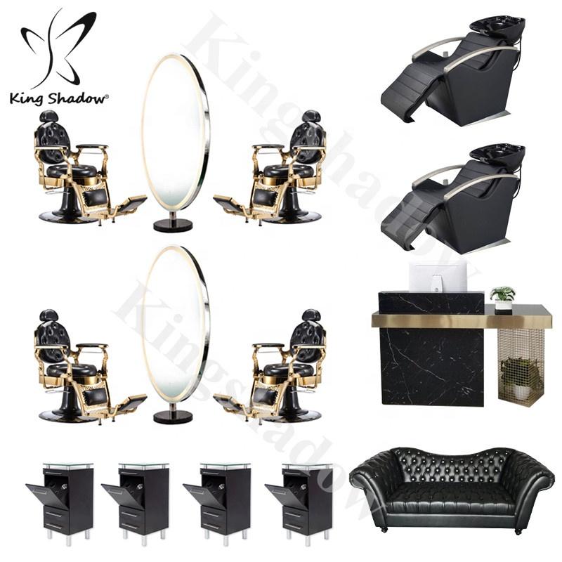 Круглые стеклянные салонные зеркальные станции для салонов красоты парикмахерские мебельные наборы