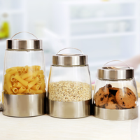 Kitchen Food Canister Sets kitchen stainless steel coat glass storage jar