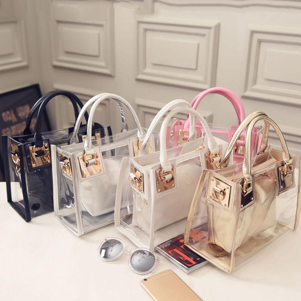 2pcs Women Fashion Shoulder Bag Clear Jelly Clutch Purse Transparent Handbag