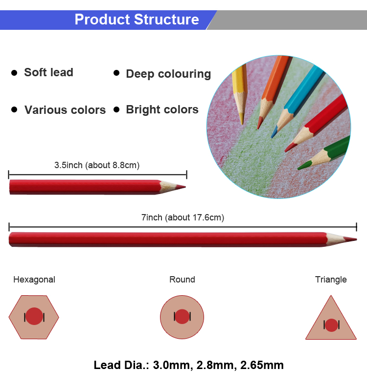 18 Years Manufacturer High Quality Art Drawing Wooden Short Color Pencil