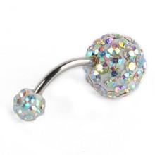 QCOOLJLY, 1 шт., кристалл, сексуальные женские Стразы, цветок, пупок, пупка, кольцо, бар, ювелирные изделия для тела, пирсинг, кольца, Nombril bijoux femme(Китай)