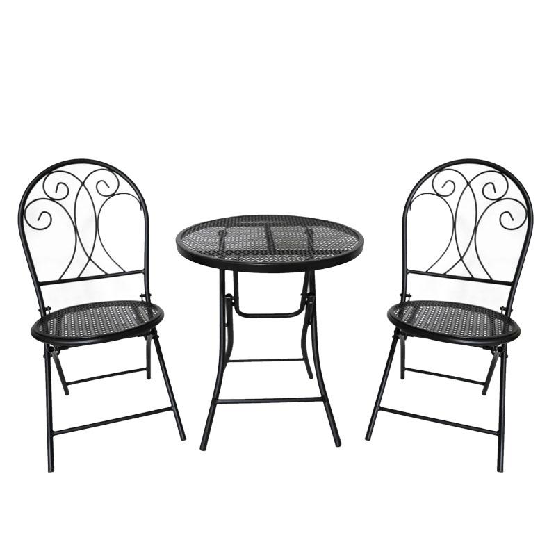 Mesa y silla plegable de malla metálica para exteriores