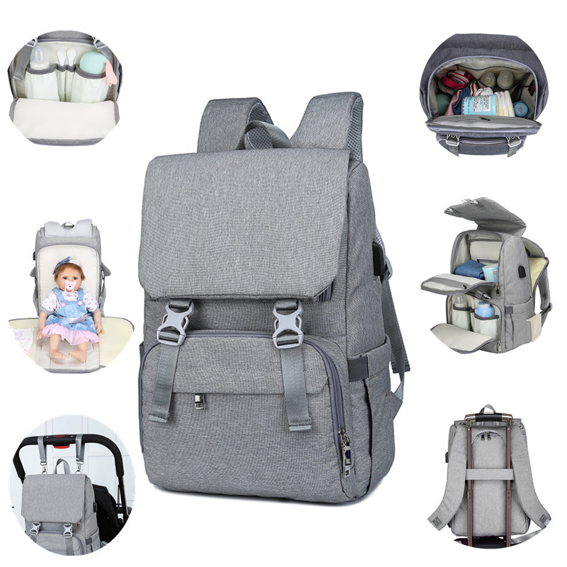 Pure Color Multi-functional Large Capacity Waterproof Daily Travel Backpack Schoolbag Mummy Backpack Diaper Bag Mummy Bags