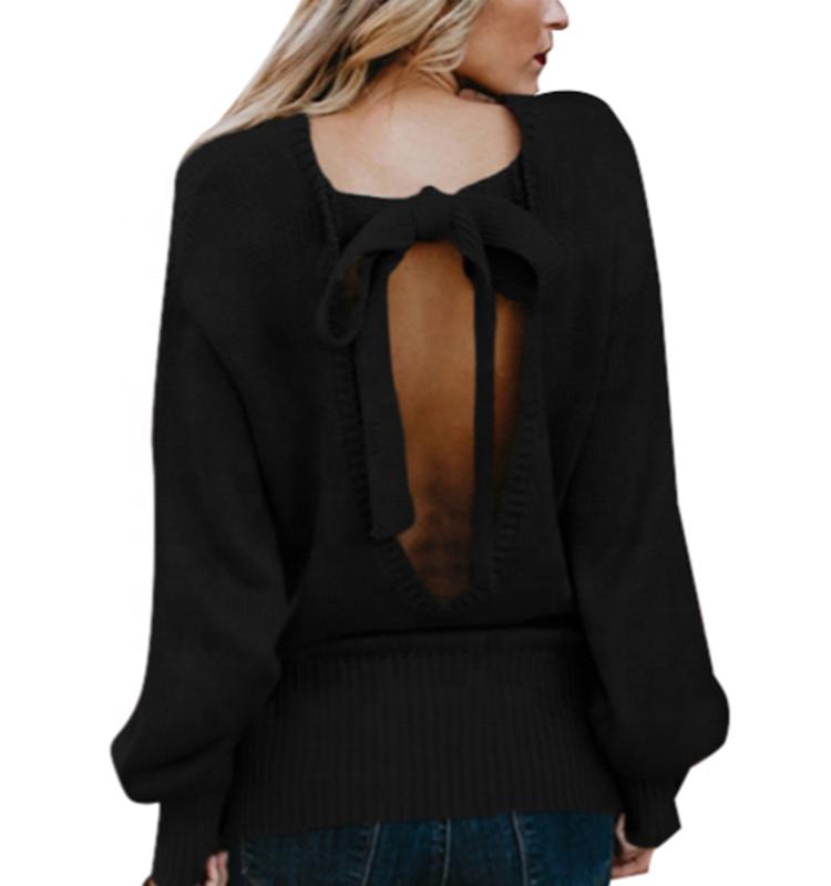 Bonito Jersey trasero para mujer, Otoño Invierno 2020, jersey tejido, jersey para mujer, Jersey Suelto