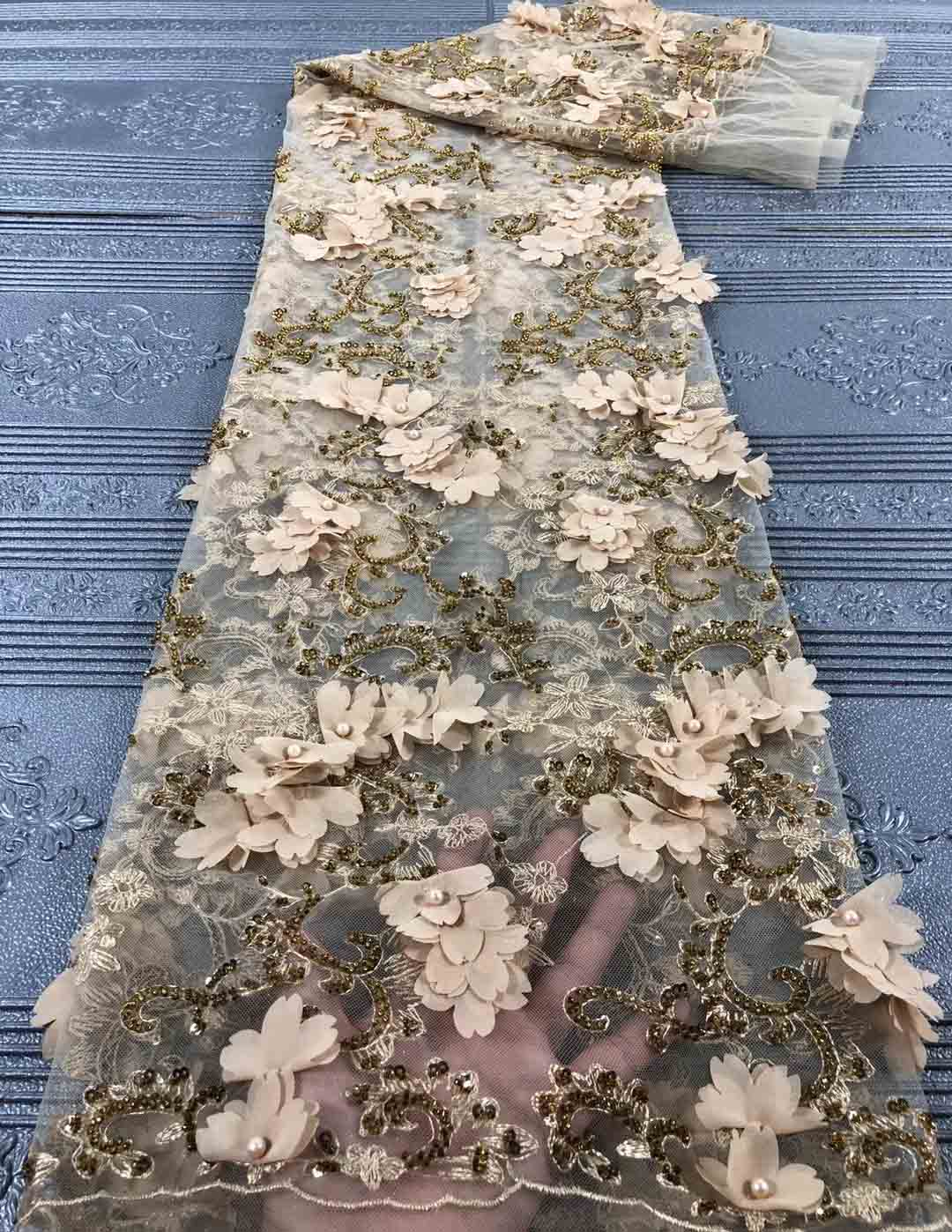 French New High Quality Luxury Big Heavy Nigerian Bridal 3d Flower Mesh Beaded Sequin Embroidery Lace Fabric for Wedding Dress