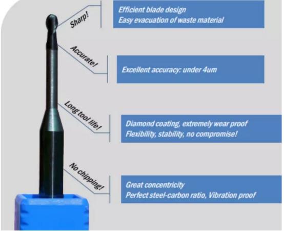 2.0mm Revêtement Diamant UP3D P5 CAD/CAM Fraise Dentaire