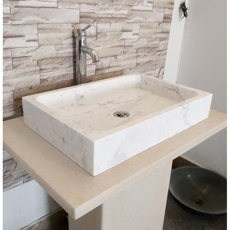 White Marble Bathroom Vanity Cabinet
