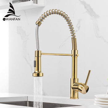 WANFAN 2 Ways Brass Kitchen Sink Tap 9009K Deck Mount Cold Hot Water Mixer Tap Gold Pull Down Kitchen Faucet