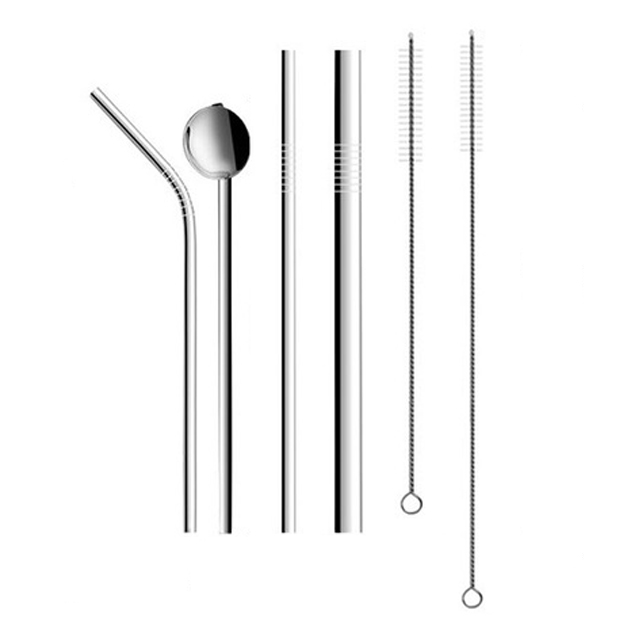 Amazon top seller 2019 ensemble de couverts en acier inoxydable Paille spoonSuit strawPipette paille cuillère ensemble